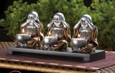 NO EVIL BUDDHA SCENE CANDLE HOLDERS