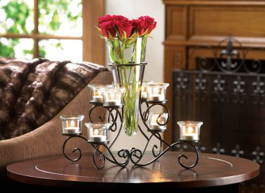 GLASS CENTER VASE TABLE TOP SCROLL IRON STAND WITH 8 SEPARATE GLASS CANDLE HOLDER CUPS