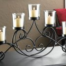 "IRON CANDLE HOLDER STAND WITH 5 GLASS CANDLE CUPS 16"" x 2"" x 7"" H"