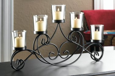 """IRON CANDLE HOLDER STAND WITH 5 GLASS CANDLE CUPS 16"""" x 2"""" x 7"""" H"""