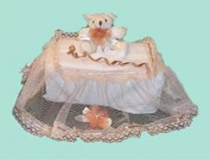 Children Tissue Box Cover Large-Lace Bear  CTC 43