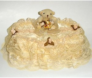 Children Tissue Box Cover Large-Lace Bear  CTC 47