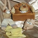 Set of Children Puppy Tissue Box Cover, Curtain Tie back and puppy hanging towel ring