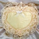 Romantic Heart Satin & Lace Embroidered Throw Pillow