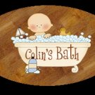Baby boy / baby girl bathtime personalized name wood plaque/sign 7 X 5 (K)