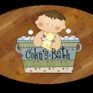 Baby boy / baby girl bathtime personalized name wood plaque/sign 7 X 5 (J)