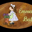 Baby girl bathtime personalized name wood plaque/sign 7 X 5 (G)