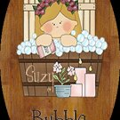 Baby girl bathtime personalized name wood plaque/sign 7 X 5 (C)