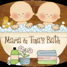 Baby boy / baby girl TWINS bathtime personalized name wood plaque/sign 7 X 5 (A)