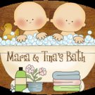 Baby boy  baby girl, TWINS bathtime personalized wall wood plaque-sign 8 X 10 (A)