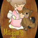 Girl bathroom wall decor idea - Baby girl bathtime personalized name wood plaque/sign 7 X 5 (P)