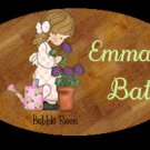 Little girl bath wall decor idea - Baby girl bathtime personalized name wood plaque/sign 7 X 5 (Q)