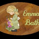 Girl bathroom wall decor idea - Baby girl bathtime personalized name wood plaque/sign 7 X 5 (M)