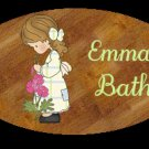 Girl bathroom wall decor idea - Baby girl bathtime personalized name wood plaque/sign 7 X 5 (N)