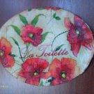 Poppies vintage shabby chic bath wall plaque VS27