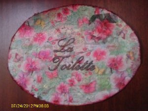 Orchids vintage shabby chic bath wall plaque VS32