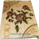 QUEEN KOREAN style MINK brown Flowers blanket NEW!