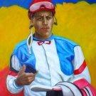 J.C. VASQUEZ WORK ART OIL PORTRAIT PUERTO RICO JOCKEY