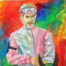 L.E.PEREZ WORK ART OIL PORTRAIT PUERTO RICO JOCKEY