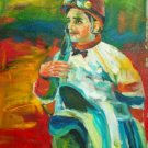 J. SANTIAGO WORK ART OIL PORTRAIT PUERTO RICO JOCKEY
