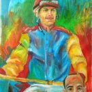 JOSE LUIS CRUZ WORK ART OIL PORTRAIT PUERTO RICO JOCKEY