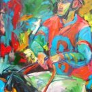 D.ROSARIO WORK ART OIL PORTRAIT PUERTO RICO JOCKEY