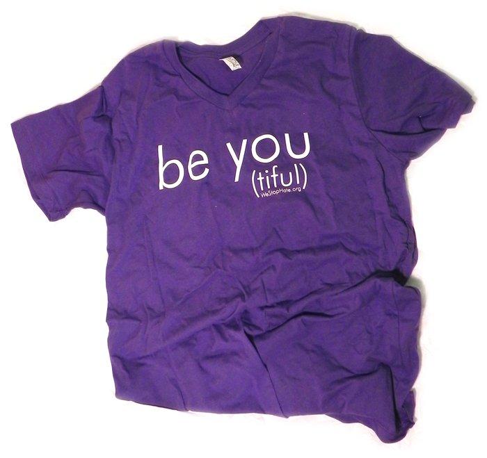 """PURPLE LARGE Unisex V-Neck """"Be You (tiful)"""" WSH Shirt"""