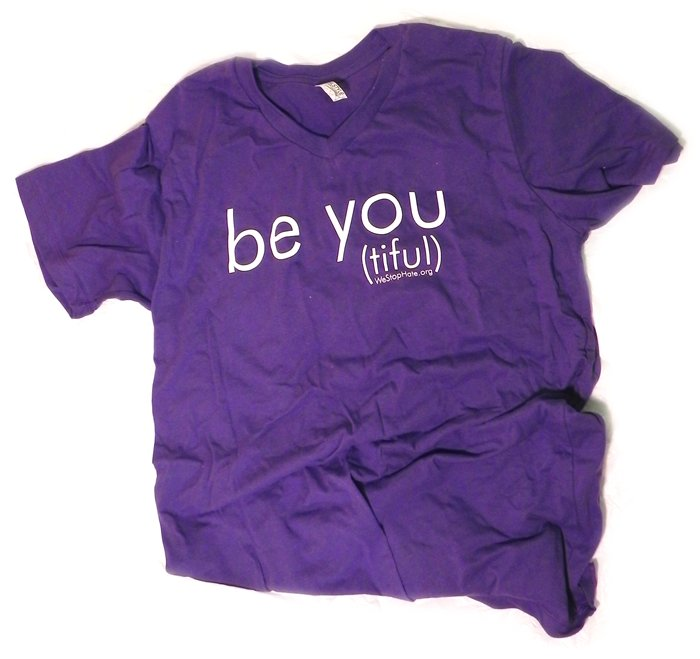 "PURPLE SMALL Unisex V-Neck ""Be You (tiful)"" WSH Shirt"