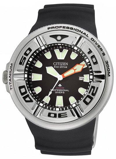 Citizen BJ8040-01E Eco-Drive Titanium Profesional Diver 300M Strap Men's