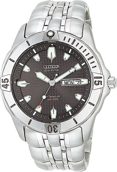 Citizen BM8230-58E Eco-Drive Titanium Professional Diver Black Dial Men's