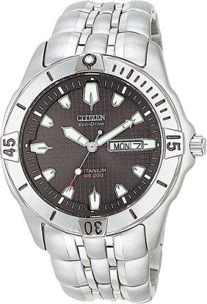 Citizen BM8230-58E Eco-Drive Titanium Professional Diver Black Dial Men's