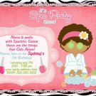 Spa- Sleep Over - Pajama party custom Birthday Invitation - Printable