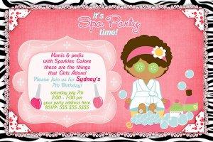 Spa- Sleep Over - Pajama party custom Birthday Invitation - Printable
