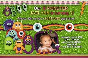 Little Monster Boo Custom Birthday Party Invitation- printable