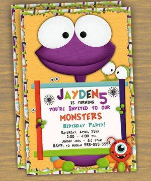 Monster Custom Birthday Party Invitation- printable