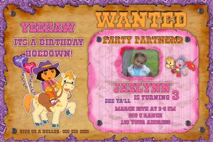 Custom Dora the explorer cowgirl Birthday Invitation