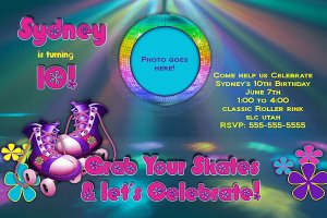 Custom Roller skating Birthday Party Invitation
