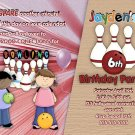 Custom Bowling girls Birthday Party Invitation
