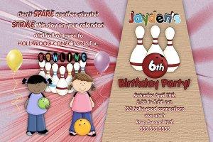 Custom Bowling girls Birthday Party Invitation
