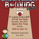 Customized Printable Bowling party Birthday Invitation