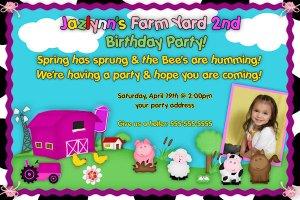 Farm Girl or Boy Birthday Invitation - Farm Animals Printable girl Barnyard - Custom Photo
