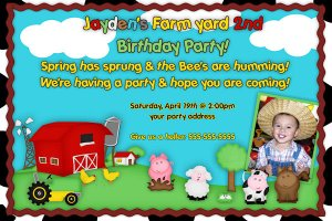 Farm Girl or Boy Birthday Invitation - Farm Animals Printable boy Barnyard - Custom Photo