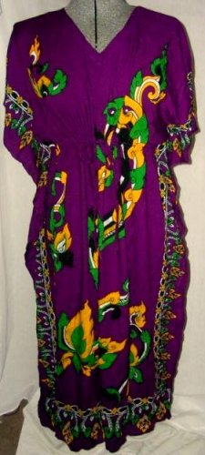1970's Mandarin Draw String Caftan Dress