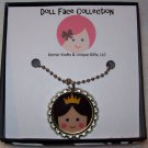 Doll Face Pendant, Brunette Princess