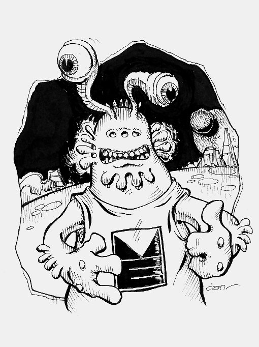 Original art.  Science Fiction spot illo Alien