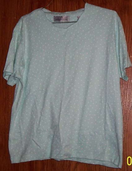 Bluesh green shirt with white poka dots  SZ M Petite