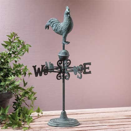 Verdigris-Finished Rooster Weathervane