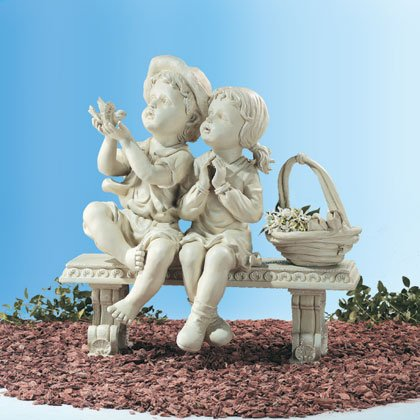 Garden Boy & Girl on Bench