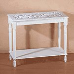 DISTRESS WHITE WOOD HALL TABLE