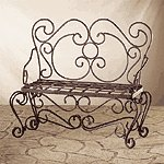 METAL RUSTIC PLANTER BENCH